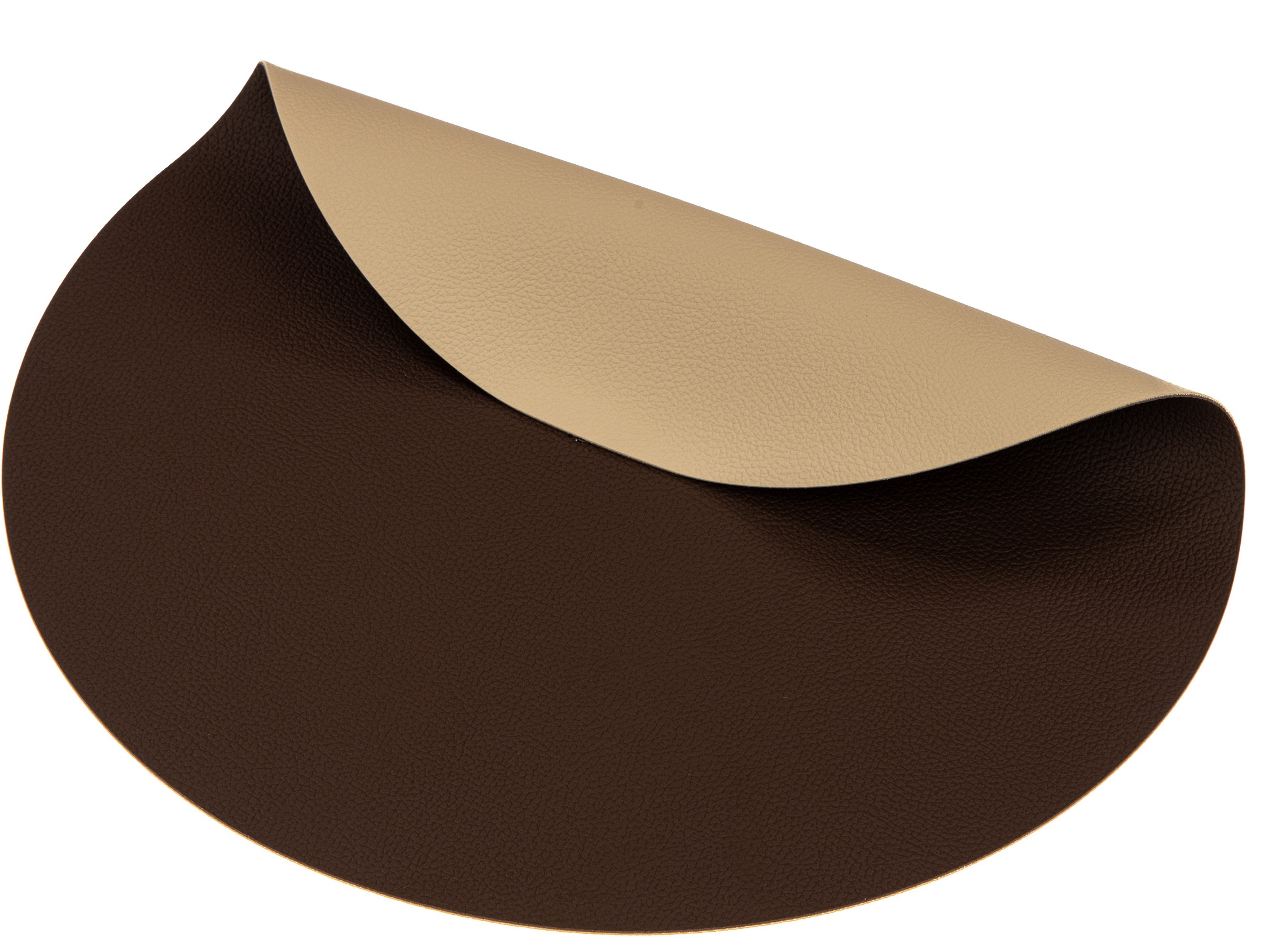 Jay Hill Placemats Rond Leer Bruin Zand  38 cm - 6 Stuks
